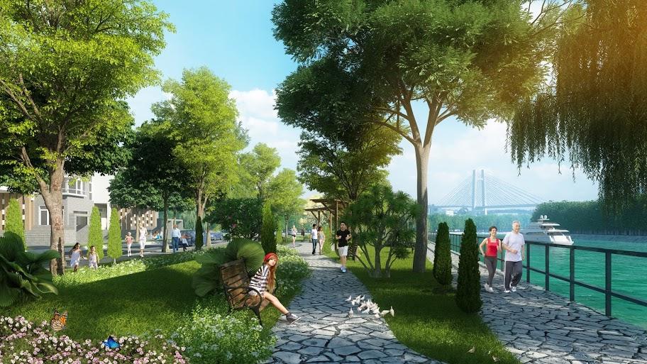 Công viên dọc bờ kè diện tích 5426m2 được thiết kề ấn tượng.
