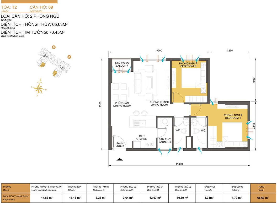 Tư vấn thiết kế căn hộ 2 phòng ngủ dự án Masteri Thảo Điền