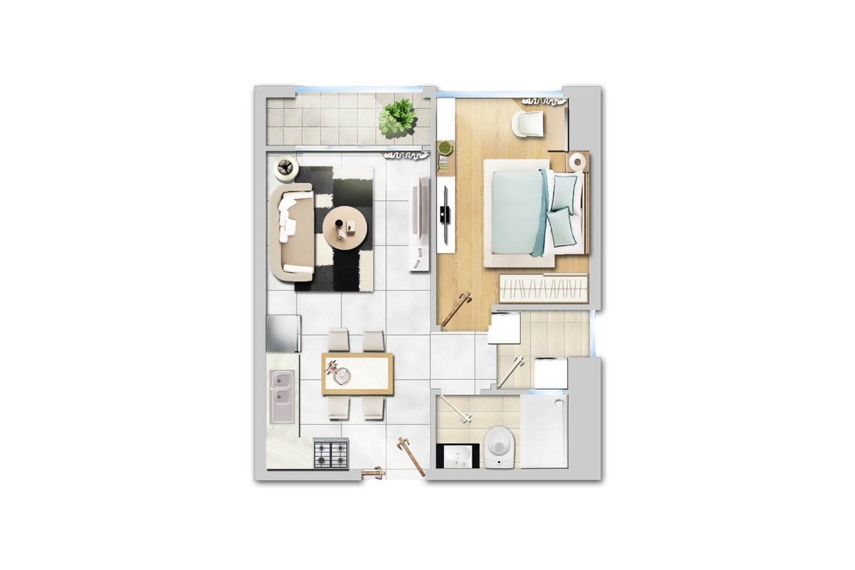 căn hộ 1 phòng ngủ dự án New City