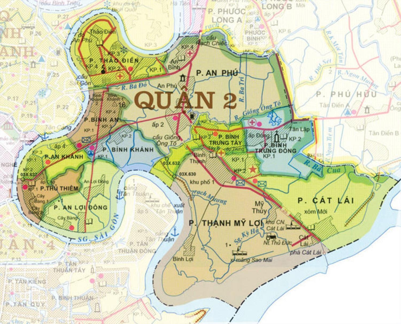Bản đồ quy hoạch các dự án tại quận 2 TP.HCM