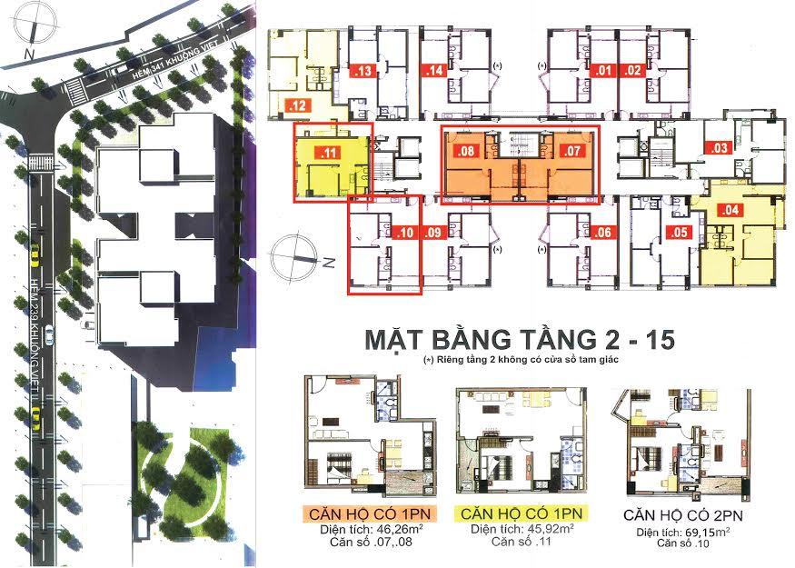 Cho thuê căn hộ chung cư Khuông Việt